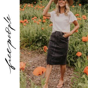 Free People Grunge Washed Denim Pencil Skirt 6